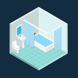 Isometric toilet vector design.