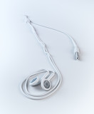 Earphones forming a musical note shape
