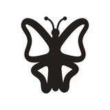 flat icon in black and white style botanic butterfly