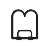 Back to School and Education vector flat icon in black and white style book stand