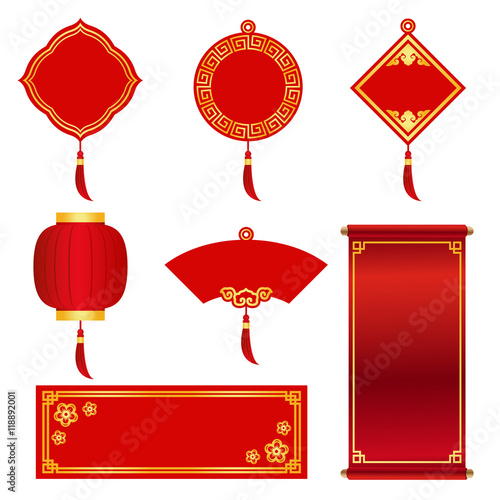 red and gold banner label for chinese new year and chinese festival vector set design