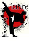 Karate com sol vermelho