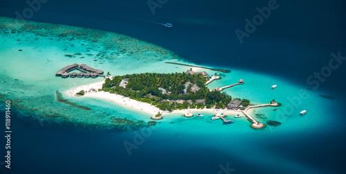 Papiers peints Bleu nuit Maldivian island