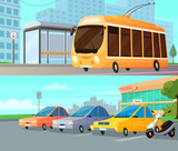 City Transport Cartoon Compositions
