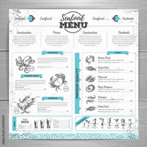 Fototapeta Vintage seafood menu design.