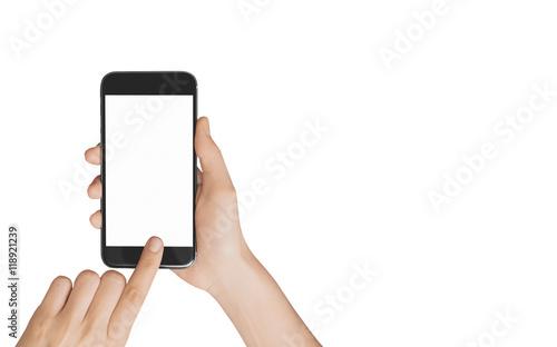 Smartphone in mano chiamata schermo acceso