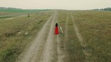A young girl in a red dress walking on the road in the field. Aerial view.