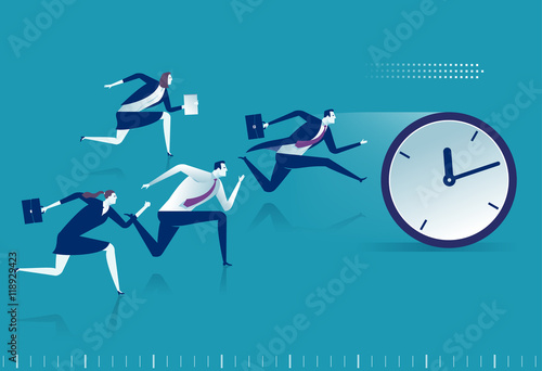 Fototapeta Race against time. Managers chasing pocket watch. Business vector illustration