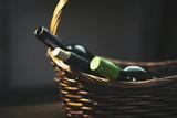 wine  bottols on basket