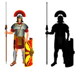 Roman empire legion warrior and silhouette. Vector, isolated on white - 118932637