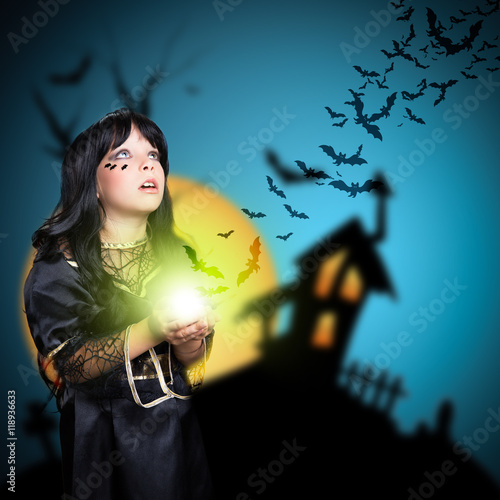 Plakát junge Hexe mit Fledermäusen