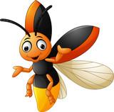 Cute firefly cartoon waving