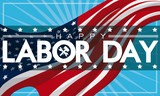 Patriotic Labor Day Banner with American Flag, Vector Illustration