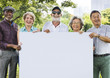 Group of People Holding Board Concept