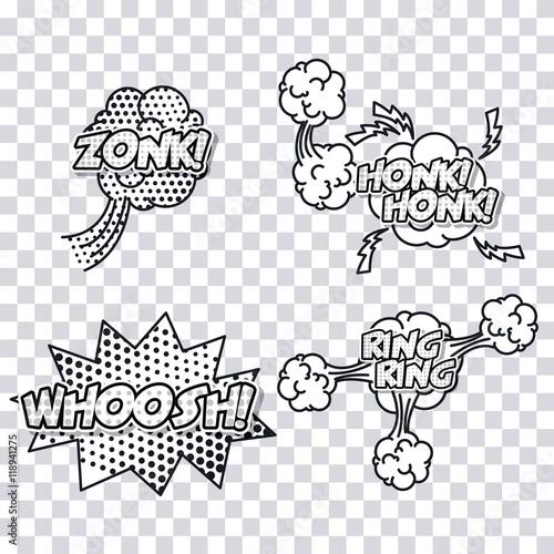 explossion pop art comic cartoon icon set. No background. Vector illustration