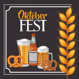 beer pretzel wheat ear frame food meu oktoberfest icon. Colorful and Flat design. Vector illustration