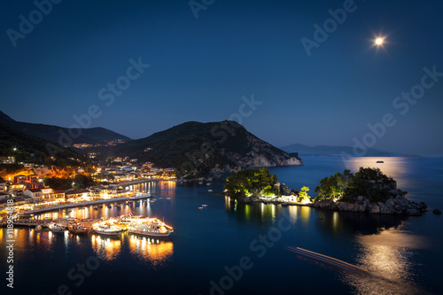 Beautiful Greek village Parga by night, photo taken in Greece, Epirus region