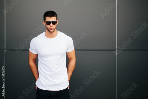 99bcb393c035 Hipster wearing white blank t-shirt with space for your logo | Buy ...