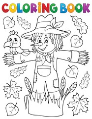 Coloring book scarecrow theme 1