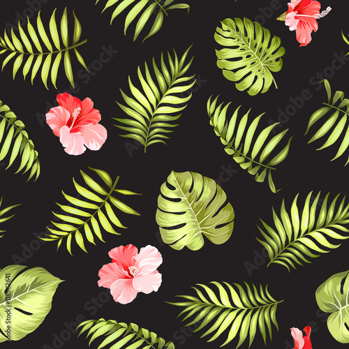 Materiał do szycia Topical palm leaves and flowers on seamless pattern for fabric texture. Vector illustration.
