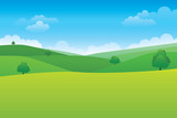 Green hill landscape. Vector illustration of panorama view with green mountain landscape and cloud sky.