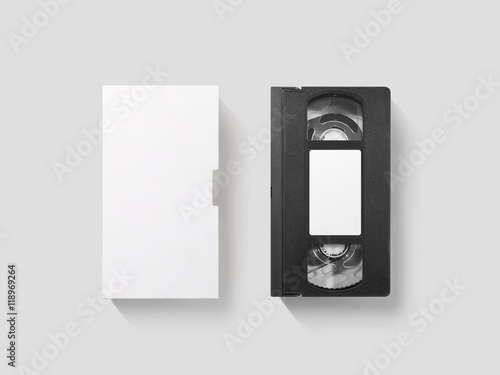 blank white video cassette tape mockup isolated top view clipping path clear