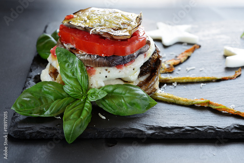 Foto Murales melanzane alla parmigiana - closeup