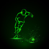 Football player running with the ball. Green neon sport illustration.