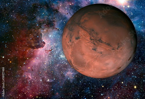 Fotobehang Nasa Solar System - Mars. It is the fourth planet from the Sun.