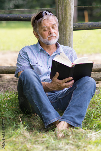 Poster Mann liest Buch in der Natur