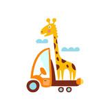 Giraffe On Trailer Of The Truck Stylized Fantastic Illustration