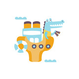 Crocodile On A Ship With Binoculars Stylized Fantastic Illustration