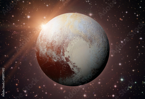 Poster Solar System - Pluto. It is a dwarf planet in the Kuiper belt.