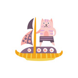 Cat On A Sailing Boat Stylized Fantastic Illustration