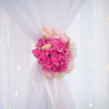 white curtain with pink flower