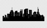 Black and white sihouette of big city skyline.