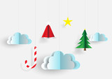 Merry christmas sky background paper cut style.vector,illustrati