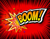 Boom. Vector Retro Comic Speech Bubble, Cartoon Comics Template. Mock-up of Book Design Elements. Sound Effects, Colored Halftone