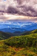 Picturesque and dramatic Carpathian mountains landscape, sunset evening time, Ukraine. © O.Farion