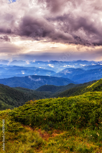 Picturesque and dramatic Carpathian mountains landscape, sunset evening time, Ukraine.