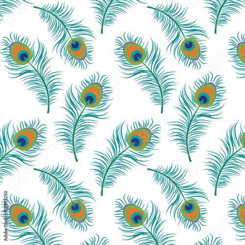 Tuinposter Abstract bloemen Peacock seamless pattern