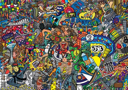 Sporty kolaż na dużym ściana z cegieł, graffiti