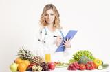 Beauatifull dietitian. Healthy eating concept