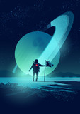 An Astronaut plants a flag on a distant planet set against a gas giant ringed planet. Vector illustration - 119004830