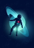 An astronaut floating through Space. Vector illustration - 119004846