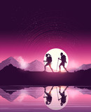 A couple of people with backpacks enjoy hiking through a scenic mountain pathway. Vector illustration