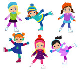 Fototapety Funny girls in winter clothes ice skating isolated on white background .