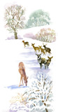Watercolor winter landscape with deers.