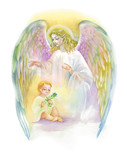 Beautiful Angel with Wings Flying over Child, Watercolor Illustration. - 119009257