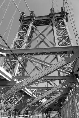 Wiliamsburg Bridge connecting Manhattan and Brooklyn over East River, New York City